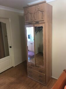 American Oak,HeadBoard with cabinets,Dressing unit with stool and Mirror Cabinet