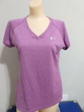 Women's Under Armour Purple Semi Fitted V-Neck Workout Exercise Wicking Shirt,M
