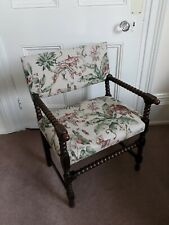 More details for vintage bobbin oak chair, newly upholstered in a chinoiserie fabric.