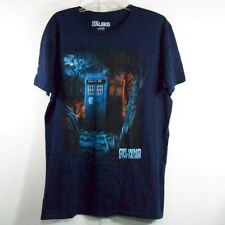 Dr. Who and The Daleks Mens L T-Shirt Blue Science Fiction Ss Graphic *As Is*