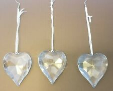Sorelle Clear Lead Crystal 3 Hearts Christmas Ornaments