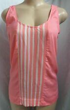 """""""ann Taylor Loft"""" Coral Front Striped Tank Shirt Top Blouse Size XL"""