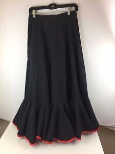 "Handmade Black & Red Flamenco Skirt 2-Layer Flounce M L 30"" Waist"