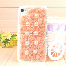 Fashion Pearl Light Pink Lace Flower Hard Back Cover Case for iPhone 5 5s