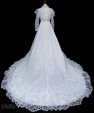Vintage Wedding Dress 1970s White Ruffle Lace HUGE Train Edwardian Boho 8-10 631