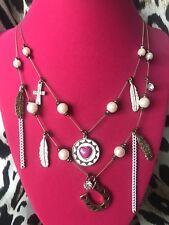 Betsey Johnson Vintage Indian Summer Dream Catcher Horseshoe Feather Necklace