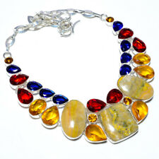 """Bumble Bee Jasper- Indonesia & Multi 925 Sterling Silver Necklace 17.99"""" S1957"""