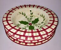 Los Angeles Pottery Bowls Laurie Gates Design Holly Berries Plaid Christmas (4)