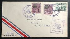 1930 Costa Rica First Flight Airmail Cover FFC To Dundas Canada Via Miami