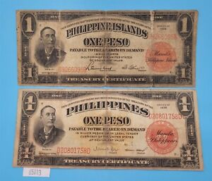 WPCoins ~ 1924, 1936 Philippines One Peso Pre War Notes