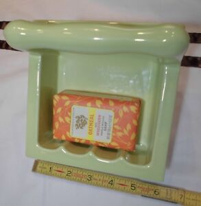 """Vintage *Key Lime Green* Ceramic… Recessed Tall Soap Dish with Grab Bar  """"NOS"""""""