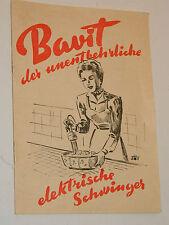 1956 ancien NOTICE appareil de cuisine BAVIT switzerland GIMEX AG genf SCHWINGER
