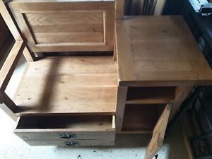 solid oak telephone table With Seat, Drawer, Shelf & Cupboard