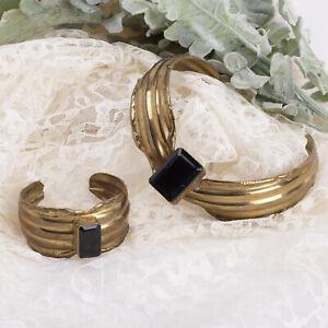 Brass Artisan Brass Smoky Quartz Faceted Gemstone Collar Cuff Bracelet Set