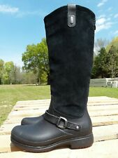 Crocs 12437 Equestrian Suede Tall Black  Boots Rubber Soles Women's Size 6