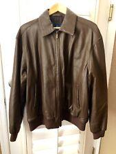 Faconnable Soft Lambskin Leather Brown Bomber Jacket Coat Men's Large TT
