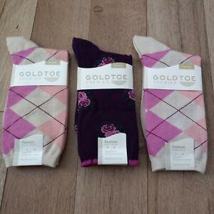 GOLDTOE Women's Argyle/ Rose Bouquet Fashion Socks 3 Pair Shoe Size 6-9