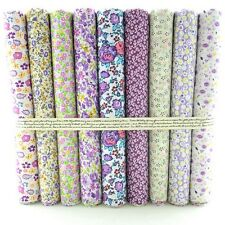 9 pcs BUNDLE purple/violet COTTON FABRIC FLORAL DOTS FLOWERS Joblot Mixed Craft