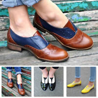Vintage Women's Cuban Low Heel Round Toe Brogue Leather Oxfords Casual Shoes