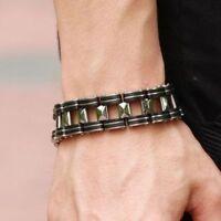 Men Silver Stainless Steel Black Rubber Motorcycle Biker Chain Link Bracelet
