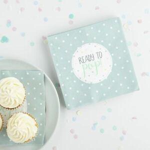Mint Green Baby Shower Napkins | Unisex Gender Neutral 'Ready To Pop' x20