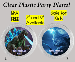 """Godzilla Monster Breathing Fire Plastic Party Plates, 7"""" and 9"""", Set of 6 Plates"""