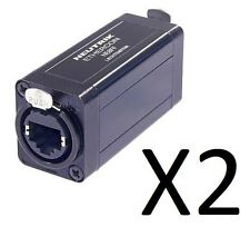 (2 Pack) Neutrik NE8FF Cat 5 Feed Through Coupler, RJ45/Ethercon Plug Coupler