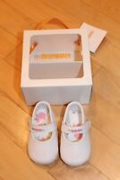 NEW Gymboree Infant Baby Girl Crib Shoes White Pink Flowers Size 1 Mary Jane