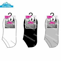 3 Pairs Ladies Invisible Socks Trainer Shoe Liner Black White Grey Sock Size 4-8