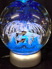 """LARGE ART GLASS GLOBE SPHERE UNDERSEA OCEAN PAPERWEIGHT 6 1/2"""" ON LIGHTED STAND"""