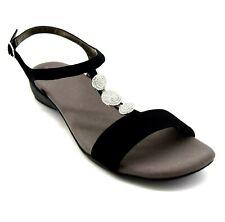 Ros Hommerson Women Slingback Sandal Size 13N Black Rhinestone Silver Buckle NEW