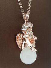 Halskette Anhänger Engel Putti 75+5 cm Messing Rosé Vergoldet Collier Katzenauge
