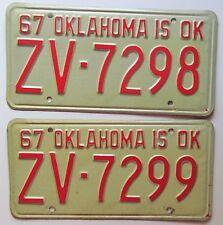 Oklahoma 1967 CONSECUTIVE NUMBER License Plates NICE QUALITY # ZV-7298 & ZV-7299