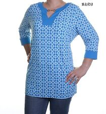 CHARTER CLUB $89 NEW Sexy Blue Keyhole Printed Tunic Top Plus 1X QCO
