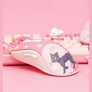 Anime Sailor Moon Wired Mouse Luna Cartoon Pink USB Computer PC MacBook Girls