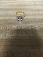 14K Engraved Yellow Gold Sparkling Hot Blue Sapphire Ring Size 8.
