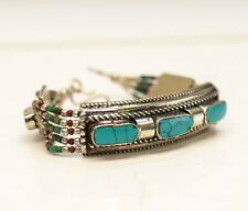 Tibetan Tribal Silver and Multistone Inlay bracelt with Turquoise