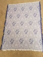 Manual Woodworkers Vintage (1990's) Woven Blanket, Blue & White