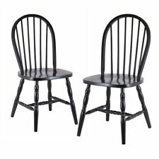 2 Windsor Black Solid Wood Kitchen Counter Dining Stools Chairs Assembled NEW