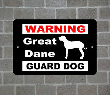 Great Dane warning GUARD DOG breed metal aluminum sign