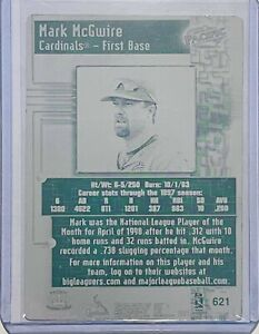 1/1 MARK MCGWIRE 1998 PACIFIC ONLINE PRINTING PLATE CARD #621 ST LOUIS CARDINALS