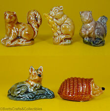 Wade Whimsies 1974/84 Set #5 - Pine Marten, Mouse, Squirrel, Alsatian & Hedgehog