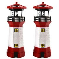 2er Set LED Leuchtturm 28 cm | Solarbeleuchtung Weiß Rot | Gartendekoration