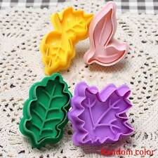 5cm 4Pcs Leaves Tree Leaf Cookie Cutter Fondant Plunger Cake Decorating Mold DIY