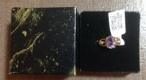 Ladies Ring Size 9 Gold Plated Genuine Amethyst And Diamonds