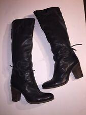 EUC FIORENTINI BAKER Black Leather Knee-High High Heel Boots 38 8.5-9 $595+
