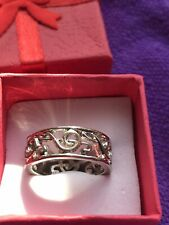 Size Q In Gft Box Used Treble Clef Style Silver Metal Ring