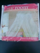 """Canopy Tassel Mesh 90""""Lx250""""W White. New and ready for your princess room"""