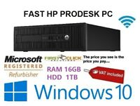 HP ProDesk Core i3 4130 Office Desktop 16GB DDR3 1TB HDD Windows 10 Computer PC