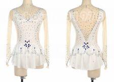 Girl Women latin Rumba Ice Skating Dress Competition customize white handmade